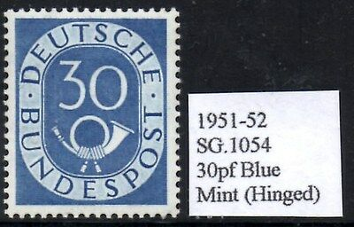 (Ref-10458) Germany 1951-52 Posthorn 30pf Blue SG.1054 Mint (Hinged) Cat:£75