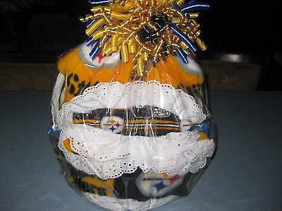 Girly NfL Steeler Baby Gift Basket Blanket Burp cloth With Lace And Outfit