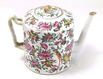 Antique 18th Century Rose Medallion Hand-Painted Teapot