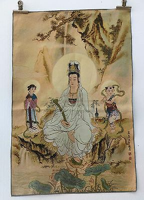 Tibet Collectable Silk Hand Painted Guanyin & Little Boy Painting Thangka gd9599