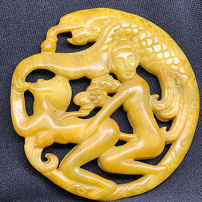 Old China ancient fine carved jade amulet pendant decoration collectiongif  A163