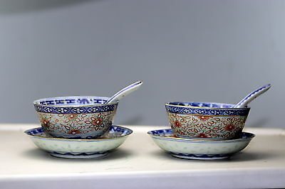pair Chinese Porcelain Rice grain  Bowls with Dragon Plates and spoons  Kangxi