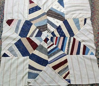"Antique Quilt Block 8 Pt Star Cadet Blue Red Prints Stripes Solid 28""x28"""