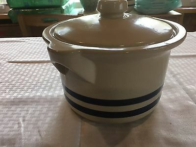 Vintage Robinson Ransbottom RRP Blue Band Stoneware Casserole Dish with Lid