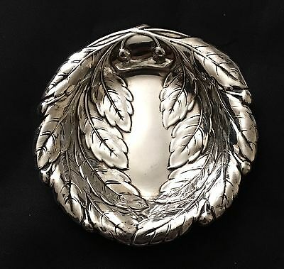 Reed & Barton Sterling Silver Nut Dish Olive Leaves Pattern