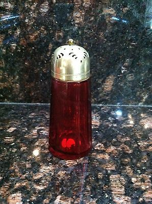 Antique Victorian Ruby Red Glass Muffineer Sugar Shaker Silverplate Lid