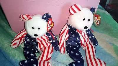 NWT Retired Ty Spangle Beanie Babies Pink, and White Faces (tags still attached)