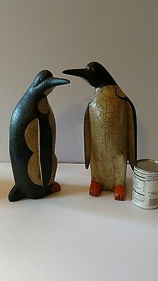 "vintage  12.5"" tall hand carved wooden penguin figure statue"
