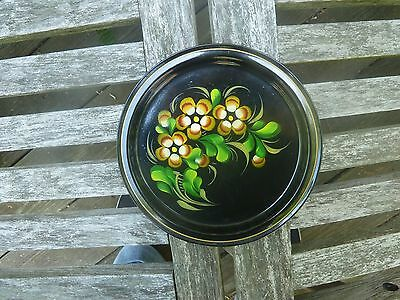 """Russian Ruso Black Tole Toleware 7"""" Tin Tray Plate Hand Painted Floral Gold Trim"""