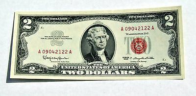 1963 UnCirculated US $2 Two Dollar Bill Red Seal Note CRISP