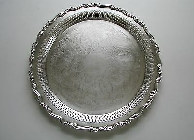 """VINTAGE ONEIDA SILVERPLATE 12"""" ROUND SERVING TRAY Pierced Platter w/ Ribbed Edge"""