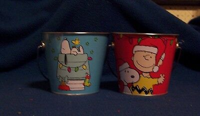 Snoopy Woodstock Charlie Brown Pails Christmas Lot of 2 Peanuts