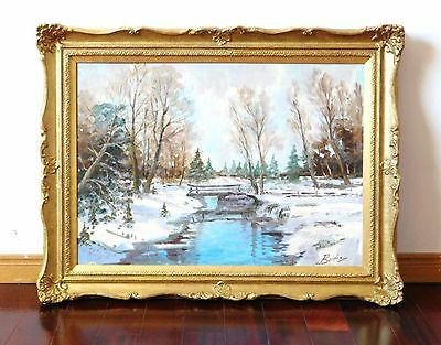 "Vintage Original Oil Painting ""Winter Scene"" by Burton, 20""x28"" Canvas Board"