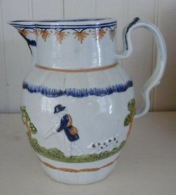 English Prattware Shooting and Hunting Jug, c. 1800