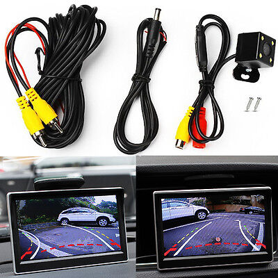 4 LED Car Rear View Camera Moving Guidelines Parking Aid HD Back-up Cam IP67 PAL