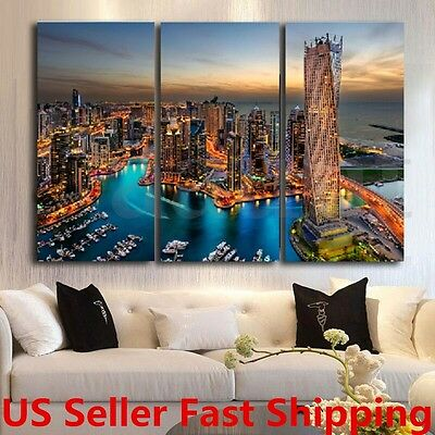 3Pcs City Sunset Wall Art Painting Canvas Print Picture Home Decor No Frame