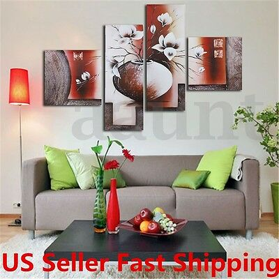 4Pcs Huge Flower Canvas Modern Oil Painting Print Art Wall Home Decor No Frame