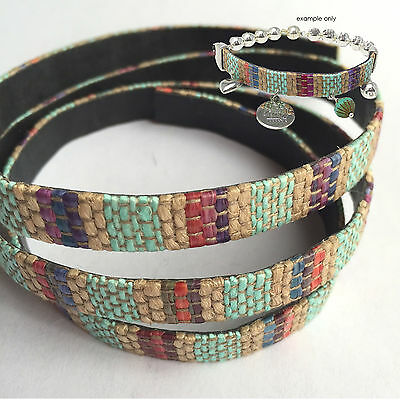 50cm x 10mm Genuine Leather Cord with Woven Cotton Finish