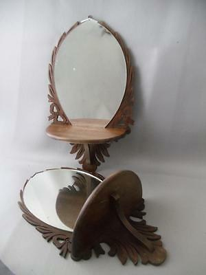 ANTIQUE VTG MINIATURE EASTLAKE CARVED BOW WOOD SHELF SCONCE PAIR w MIRROR SMALL