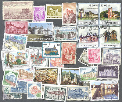 Castles on stamps 100 all different thematic collection