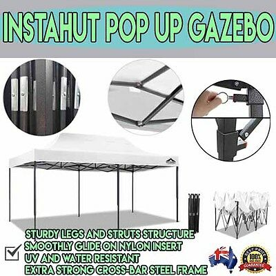 3x6m White Outdoor Marquee Gazebo Folding Shade Tent Party Shelter Canopy