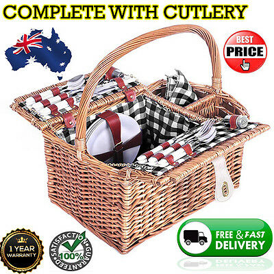 Deluxe 4 Person Picnic Basket Set w/ Blanket Cutlery Accessories Outdoor Date