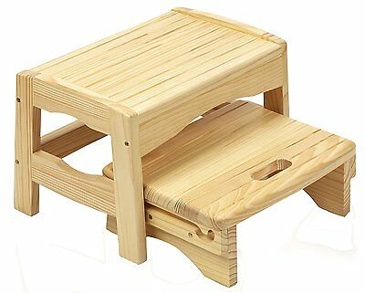 Folding New Safety 1st Wooden 2 Step Stool Portable (Natural)