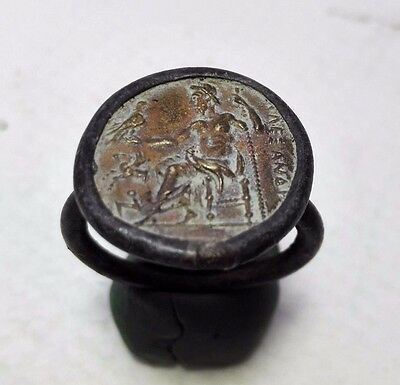 Antique bronze ancient coin wonderful lovely ring 9 size