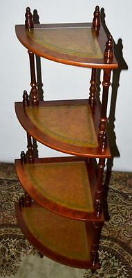 Vintage Mahogany 4 Tier Leather Top Corner Whatnot Shelves - FREE P&P [PL3493]
