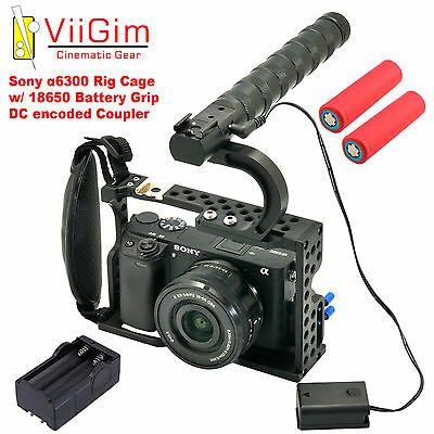 ViiGim - 18650 DC Coupler Rig Cage for Sony A6500 / A6300 Bonus Battery Charger