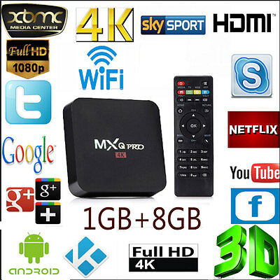 MXQ Pro Quad Core Android 6.0 TV Box S905 4K Ultra HD Media Player HDMI UK
