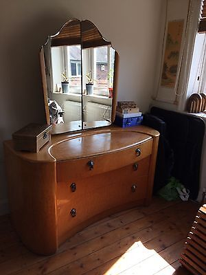 Art Deco Style Chest of Drawers, mirror & hidden cabinet, pre-loved condition