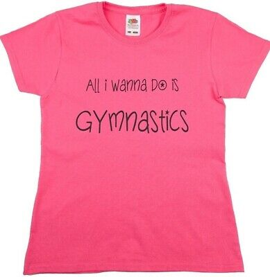 Girls / Ladies Pink  Gymnastics Top with Silver Text on Front
