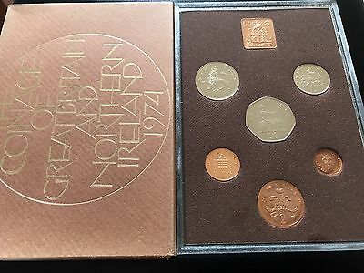 1974 Royal Mint Coinage Of Great Britain & Northern Ireland Proof 6 Coin Set 001