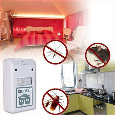 White Plus Electronic Ultrasonic Pest Control Repeller Spiders Rats US 1 PCS