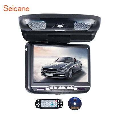 "Black 9"" LCD Flip Down Roof Mount Overhead Car Monitor FM/SD/USB/Game/DVD Player"