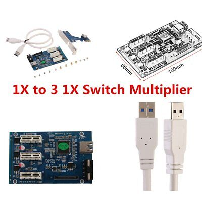 Excellent PCI e Express 1X to 3 1X Switch Multiplier HUB Riser Card USB Cable Q#