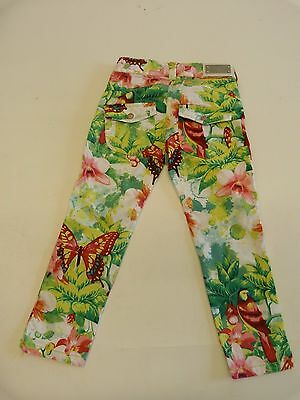 Pampolina Denim Girls Trousers In A Vibrant Jungle Print Excellent Con Size 3Y