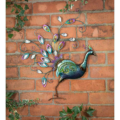 Hand Finished Diamante Peacock Wall Art Multicoloured Design Free Finger spinner
