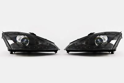 Ford Focus MK1 01-04 LED DRL Black Projector Headlights Headlamps Set Left Right