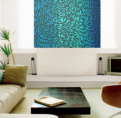 "24"" fish blue aqua seascape Aboriginal  art print painting by Jane authentic COA"