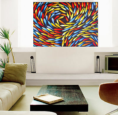 "24"" Fish Colours  Framed Aboriginal  art print painting by Jane authentic COA"