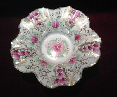 Antique, Porcelain, Compote, 3 footed, hand painted, floral, 1890-1920, European