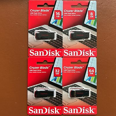 NEW SanDisk 8/16/32/64 GB Cruzer Blade CZ50 USB 2.0 Flash Memory Stick Pen Drive