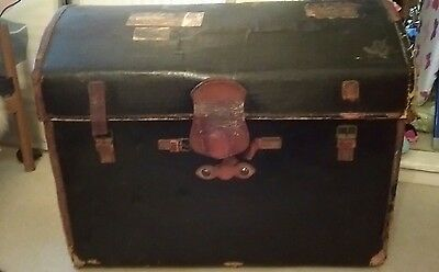 Huge Antique Leather And Canvas Vintage Trunk