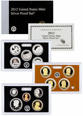 Rare 2012 Complete 14 Coin Silver Proof Set W/ Cert and Box