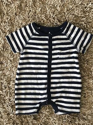 Boys babyGap One Piece Terry Navy Blue White Striped Sz 0-3 Months Infant