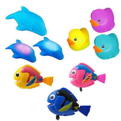 3pc LED Light Up Duck/Dolphin Wind Up Swimming Fish Kids Bath Time Play Toys