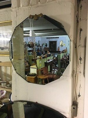 Vintage Wall Mirror on chain Art Deco Dodecagon Bevelled Edge Scalloped Retro
