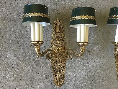 Antique Vintage French Empire Tole Brass Wall Sconce Bouillotte Lamp - LAST ONE